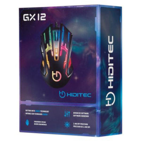 Gaming Mouse Hiditec GMO010002 2400 DPI Black-Universal Store London™