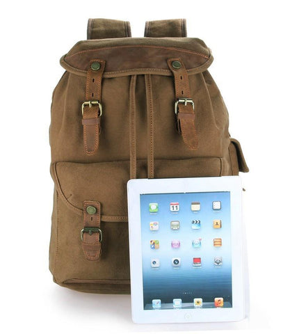 Image of Genuine Leather and Canvas Classic Backpack-Universal Store London™