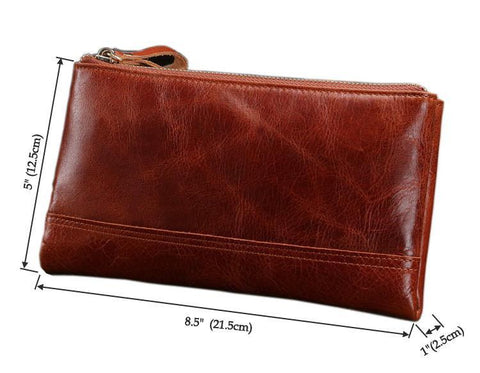 Image of Genuine Leather Clutch Organizer Wallet - Brown-Universal Store London™