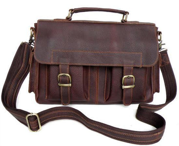 Genuine Leather Double Pocket Messenger Bag-Universal Store London™