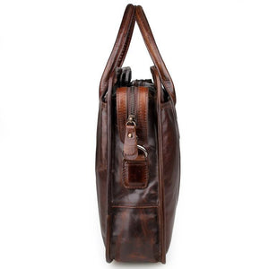 Genuine Leather Men's Briefcase Messenger Laptop Bag - Brown-Universal Store London™