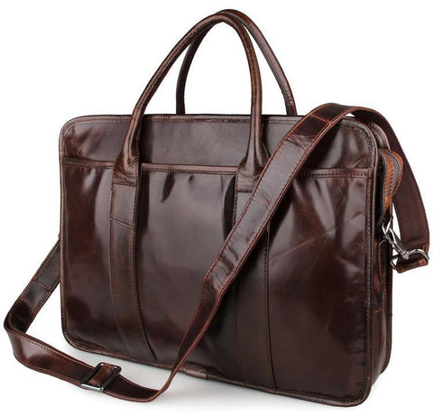 Image of Genuine Leather Men's Briefcase Messenger Laptop Bag - Brown-Universal Store London™