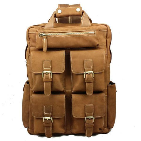 Image of Genuine Leather Military Style Multi Pocket Backpack-Universal Store London™
