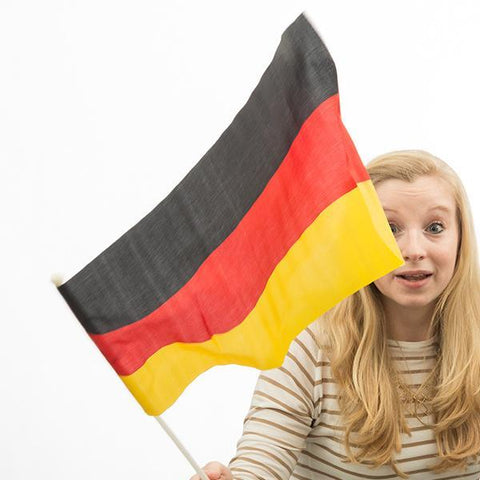 Image of German Flag with Pole (46 x 30 cm)-Universal Store London™