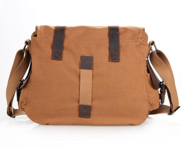'Gobi' Classic Leather and Canvas Messenger Bag-Universal Store London™