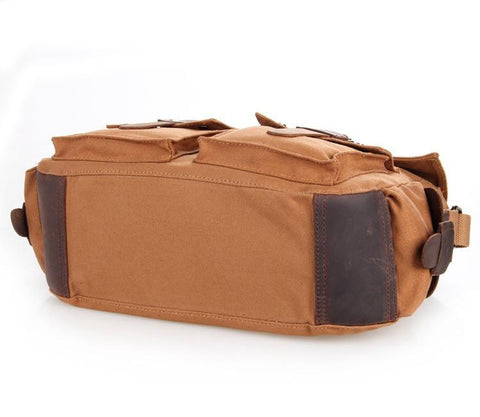 Image of 'Gobi' Classic Leather and Canvas Messenger Bag-Universal Store London™