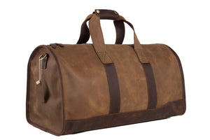 Handmade Brown Genuine Leather Duffle Travel Bag