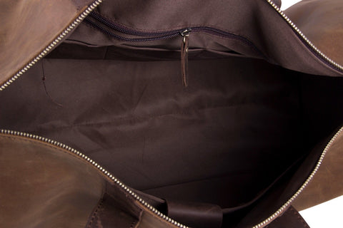 Image of Handmade Brown Genuine Leather Duffle Travel Bag-Universal Store London™