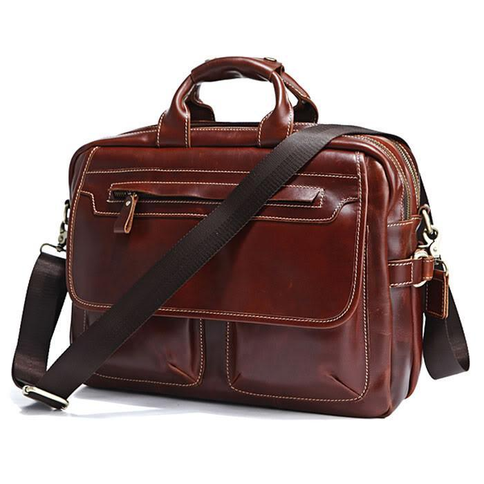 Handmade Brown Leather 15 Inch Laptop Messenger Briefcase-Universal Store London™