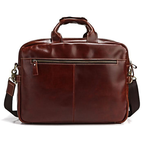 Image of Handmade Brown Leather 15 Inch Laptop Messenger Briefcase-Universal Store London™
