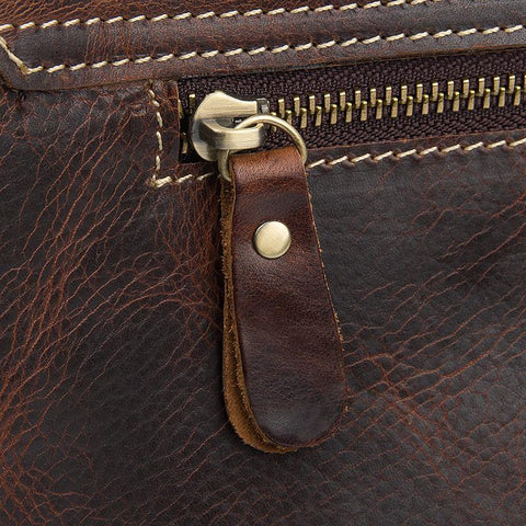 Image of Handmade Contrast Stitch Leather Messenger Bag Red Brown-Universal Store London™
