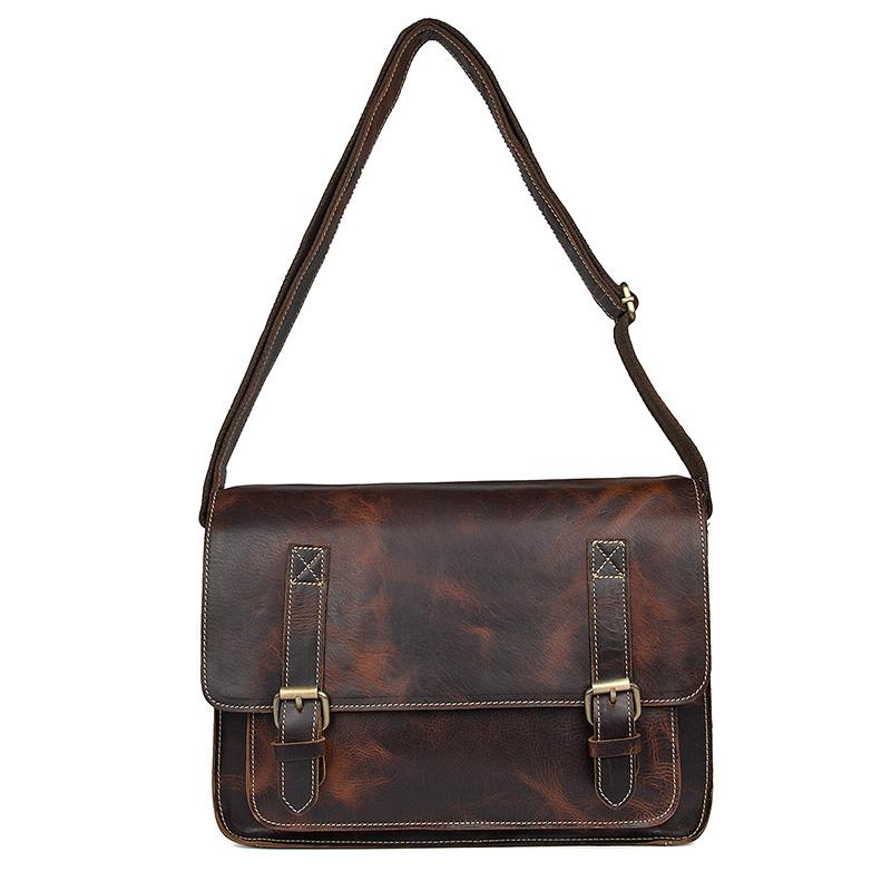 Handmade Contrast Stitch Leather Messenger Bag Red Brown-Universal Store London™