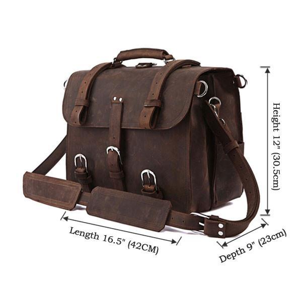Handmade Full Grain Leather Heavy Duty Messenger Bag & Backpack - Dark Brown-Universal Store London™