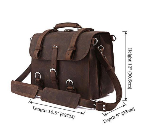Image of Handmade Full Grain Leather Heavy Duty Messenger Bag & Backpack - Dark Brown-Universal Store London™