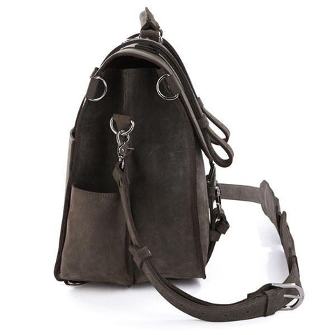Image of Handmade Full Grain Leather Heavy Duty Messenger Bag & Backpack - Grey-Universal Store London™