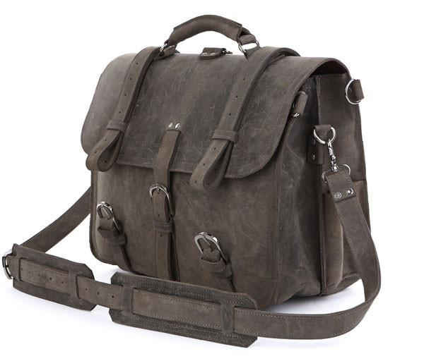 Handmade Full Grain Leather Heavy Duty Messenger Bag & Backpack - Grey-Universal Store London™