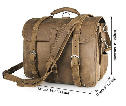 Image of Handmade Full Grain Leather Heavy Duty Messenger Bag & Backpack - Light Brown-Universal Store London™