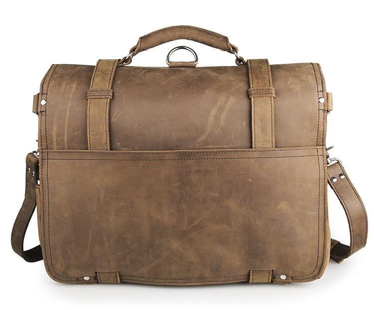 Handmade Full Grain Leather Heavy Duty Messenger Bag & Backpack - Light Brown-Universal Store London™