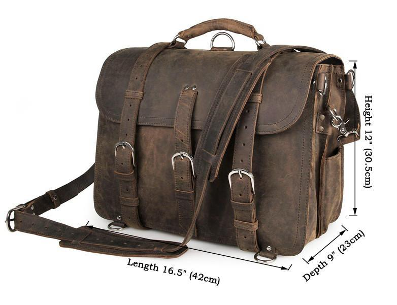 Handmade Full Grain Leather Heavy Duty Messenger Bag & Backpack - Vintage Brown-Universal Store London™