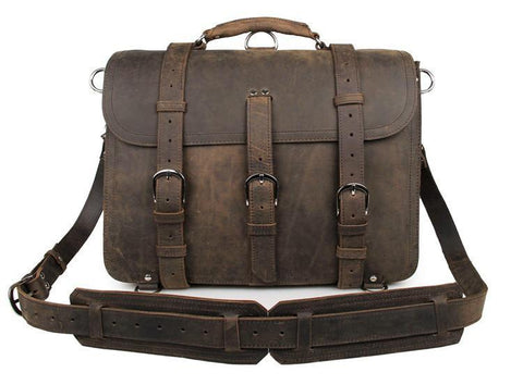 Image of Handmade Full Grain Leather Heavy Duty Messenger Bag & Backpack - Vintage Brown-Universal Store London™