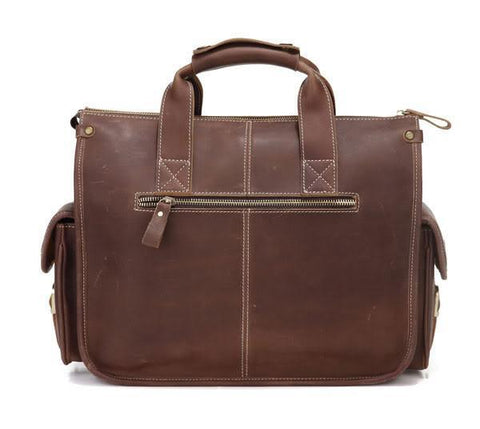 Image of Handmade Genuine Leather Satchel - Dark Brown-Universal Store London™