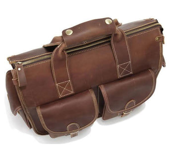 Handmade Genuine Leather Satchel - Dark Brown-Universal Store London™