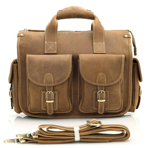 Image of Handmade Genuine Leather Satchel - Light Brown-Universal Store London™
