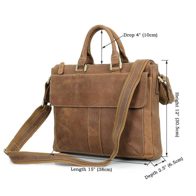 Handmade Leather Laptop Briefcase with Adjustable Strap - Brown-Universal Store London™