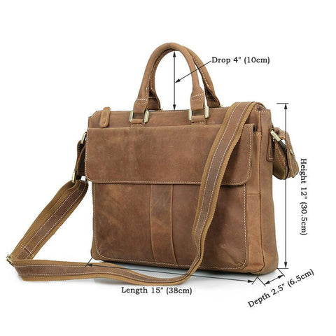 Image of Handmade Leather Laptop Briefcase with Adjustable Strap - Brown-Universal Store London™