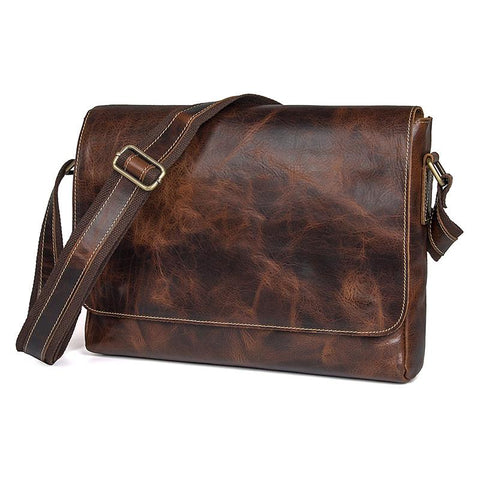 Image of Handmade Leather Messenger Bag Crossbody Bag - Red Brown-Universal Store London™