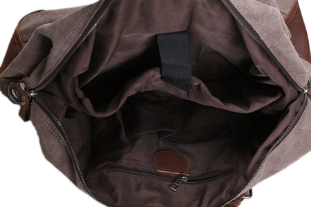 Handmade Leather Trimmed Waxed Canvas Travel Bag Duffle Bag Holdall-Universal Store London™