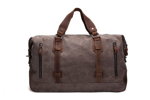 Image of Handmade Leather Trimmed Waxed Canvas Travel Bag Duffle Bag Holdall-Universal Store London™