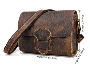 Handmade Small Classic Grain Leather Vintage Women's Across Body Bag
