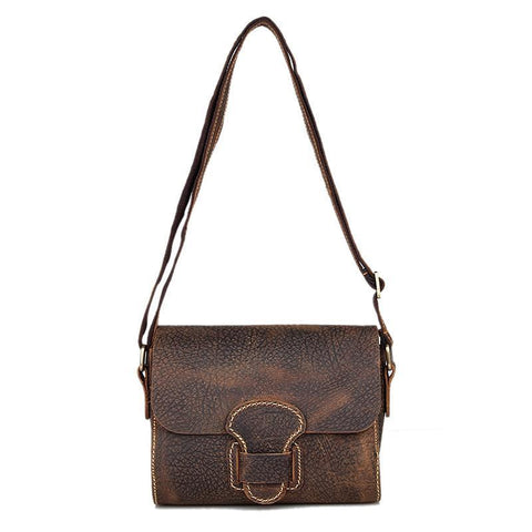 Image of Handmade Small Classic Grain Leather Vintage Women's Across Body Bag-Universal Store London™