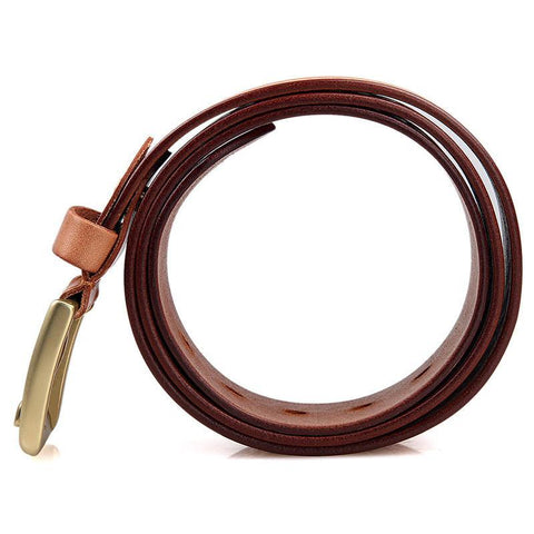 Image of Handmade Vegetable Tanned Italian Leather Belt One Size - USLB015B-Universal Store London™