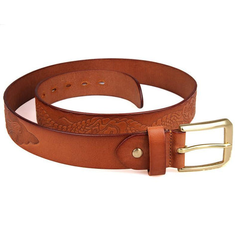 Image of Handmade Vegetable Tanned Italian Leather Belt One Size - USLB016B-Universal Store London™