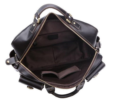 Image of Handmade Vintage Leather Business Travel Bag Messenger Bag - Black-Universal Store London™
