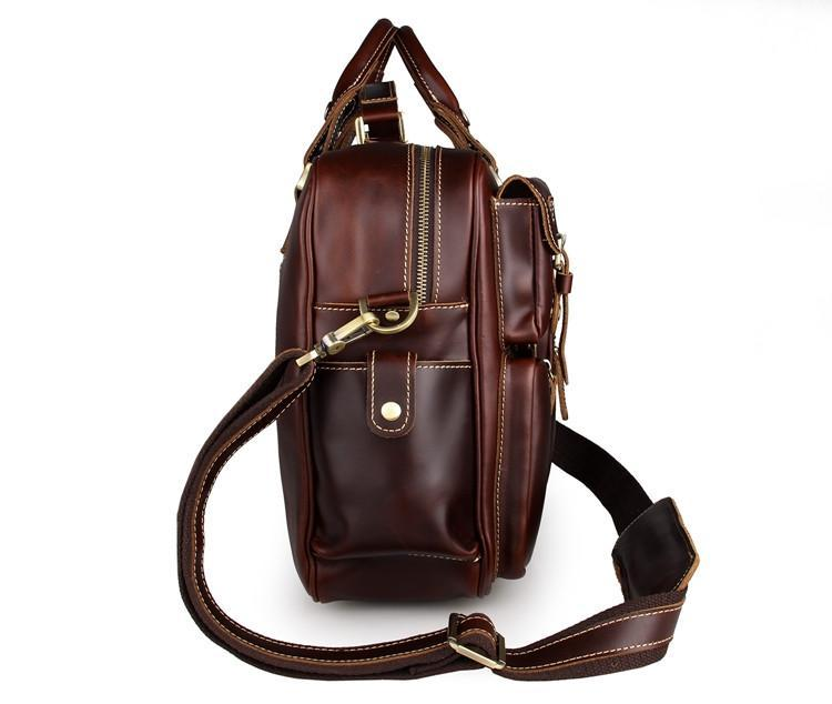 Handmade Vintage Leather Business Travel Bag Messenger Bag - Chestnut-Universal Store London™