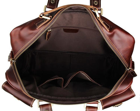 Image of Handmade Vintage Leather Business Travel Bag Messenger Bag - Chestnut-Universal Store London™