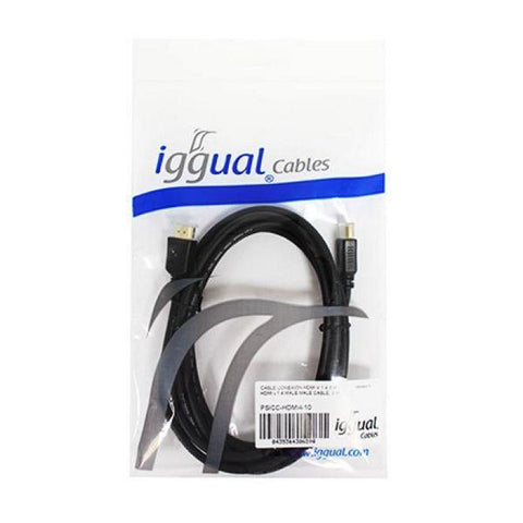 Image of HDMI Cable iggual PSICC-HDMI4-10 V 1.4 3 m Black-Universal Store London™