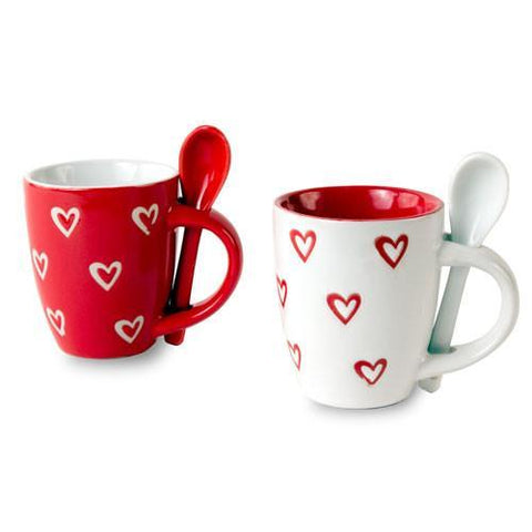 Image of Hearts Mini Mug with Teaspoon-Universal Store London™