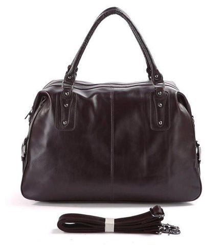 Image of 'Hermes' Leather Travel Bag Holdall - Dark Brown-Universal Store London™