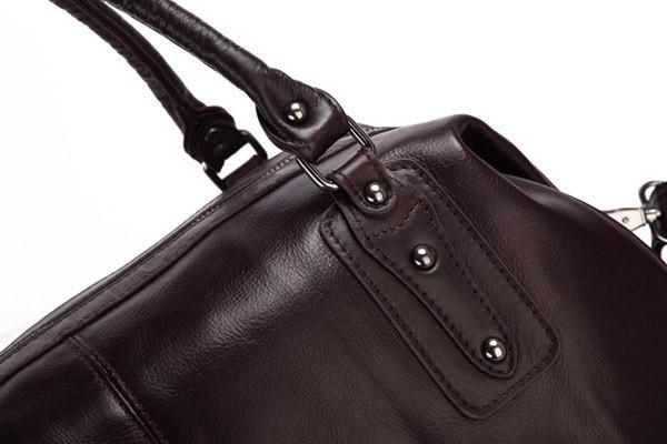 'Hermes' Leather Travel Bag Holdall - Dark Brown-Universal Store London™
