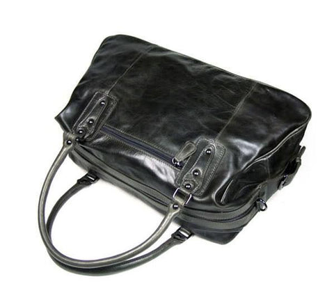 Image of Hermes Leather Travel Bag Holdall - Dark Grey-Universal Store London™