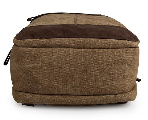 Image of Horsford Large Cotton Canvas Backpack - Khaki-Universal Store London™