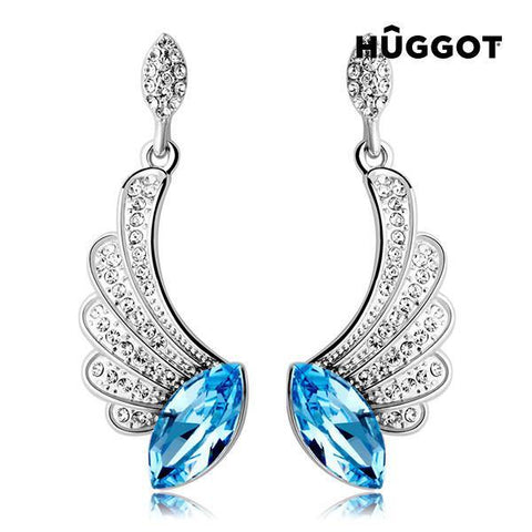 Image of Hûggot Angel Rhodium-Plated Earrings with Zircons Created with Swarovski®Crystals-Universal Store London™