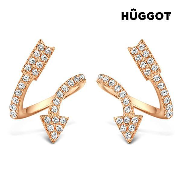 Hûggot Arrow 18 K Rose Gold-Plated 925 Sterling Silver Earrings Pink with Zircons-Universal Store London™