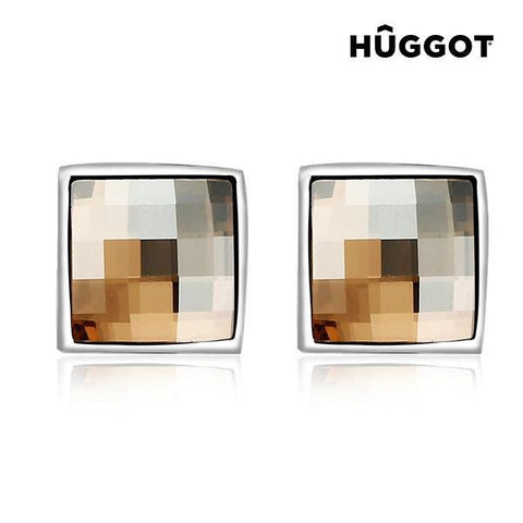 Image of Hûggot Autumn Rhodium-Plated Earrings Created with Swarovski®Crystals-Universal Store London™