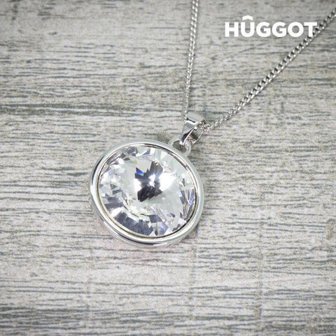 Image of Hûggot Balance Rhodium-Plated Pendant Created with Swarovski®Crystals (40 cm)-Universal Store London™