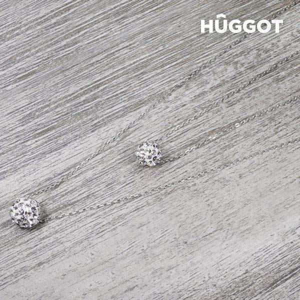 Hûggot Balls 925 Sterling Silver Pendant with Zircons and Double Chain (40 and 45 cm)-Universal Store London™